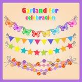 Grupo de quatro festões festivas para todas as ocasiões ilustração stock