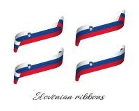 Grupo de quatro fitas coloridas modernas do vetor com tricolor esloveno Fotos de Stock Royalty Free
