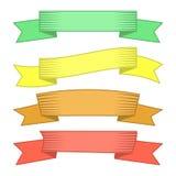 Grupo de quatro fitas e bandeiras multicoloridos para o design web Imagem de Stock Royalty Free