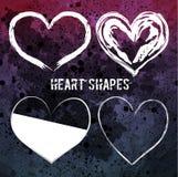 Grupo de quatro formas brancas do coração Imagens de Stock Royalty Free
