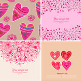 Grupo de quatro fundos felizes do dia de Valentim. Fotos de Stock