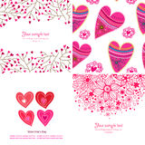 Grupo de quatro fundos felizes do dia de Valentim. Fotografia de Stock