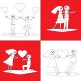 Grupo de quatro pares dos desenhos animados Foto de Stock