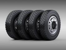 Grupo de quatro pneus grandes do caminhão do veículo empilhados Rodas de carro novas com ilustração do vetor