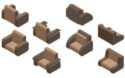 Grupo de quatro poltronas isometric Fotos de Stock Royalty Free