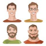 Grupo de quatro retratos Caráteres masculinos Imagens de Stock