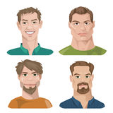 Grupo de quatro retratos Caráteres masculinos Fotos de Stock Royalty Free