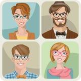 Grupo de quatro retratos dos modernos. Fotos de Stock Royalty Free