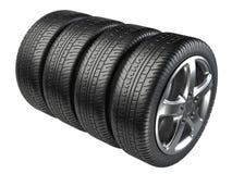 Grupo de quatro rodas de carro Imagens de Stock