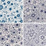 Grupo de quatro testes padrões florais coloridos. Fotografia de Stock Royalty Free