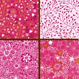 Grupo de quatro testes padrões florais coloridos. Imagem de Stock Royalty Free