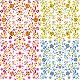 Grupo de quatro testes padrões florais sem emenda Fotos de Stock Royalty Free