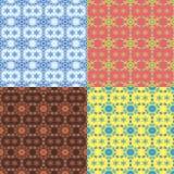 Grupo de quatro testes padrões sem emenda dos flocos de neve Fotografia de Stock
