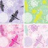 Grupo de quatro testes padrões sem emenda florais com flores Fotografia de Stock Royalty Free