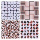 Grupo de quatro testes padrões sem emenda retros decorativos Fotografia de Stock Royalty Free