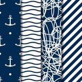 Grupo de quatro testes padrões sem emenda do estilo do mar do vetor Imagem de Stock