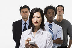 Grupo de quatro trabalhadores de escritório fotos de stock royalty free