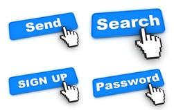 Grupo de quatro um botão azul da Web da cor Fotografia de Stock Royalty Free