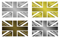 Grupo de quatro Union Jack metálico estilizado simplesmente isolado no estilo metálico das cores Imagens de Stock