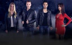 Grupo de quatro vampiros novos fotografia de stock