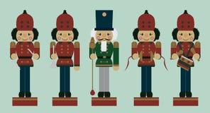 Grupo de quebras-nozes do músico do Natal Fotografia de Stock Royalty Free