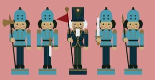 Grupo de quebras-nozes do soldado do Natal Imagem de Stock Royalty Free