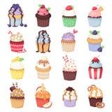 Grupo de queques bonitos e de queques do vetor no branco Foto de Stock Royalty Free