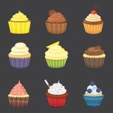 Grupo de queques bonitos e de queques do vetor Queque colorido para o projeto do cartaz do alimento Foto de Stock Royalty Free