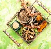 Grupo de raizes de plantas medicinais Imagens de Stock Royalty Free