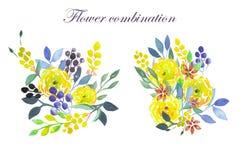 Grupo de ramalhetes da aquarela com flores, as folhas e as plantas amarelas Fotografia de Stock