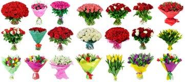 Grupo de ramalhetes das rosas e das tulipas, uma coleção dos ramalhetes de Imagem de Stock Royalty Free