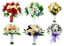 Grupo de ramalhetes do casamento no fundo branco, ramalhete do brid Imagens de Stock Royalty Free