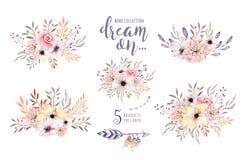 Grupo de ramalhetes florais do boho da aquarela Quadro natural boêmio do Watercolour: folhas, penas, flores, isoladas no branco ilustração royalty free