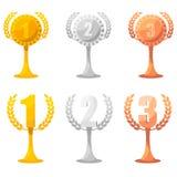 Grupo de recompensas do campeão no ouro, na prata e no bronze Fotos de Stock