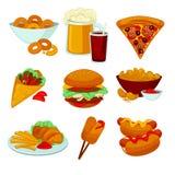 Grupo de refeições do fast food Ícones do petisco dos desenhos animados da coleção Fotografia de Stock Royalty Free