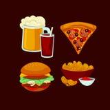 Grupo de refeições do fast food Ícones do petisco dos desenhos animados da coleção Fotografia de Stock