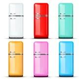 Grupo de refrigerador do refrigerador Vetor isolado sobre Fotografia de Stock