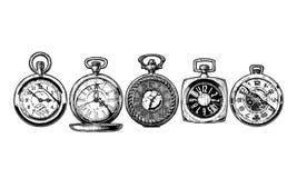 Grupo de relógios de bolso ilustração royalty free