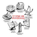 Grupo de relógios de sol diferentes ilustração royalty free