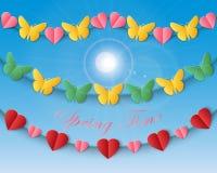 Grupo de repetir festões com borboletas e corações contra um fundo do céu azul ilustração do vetor