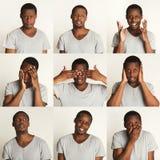 Grupo de retratos do ` s do homem negro com emoções diferentes Imagem de Stock
