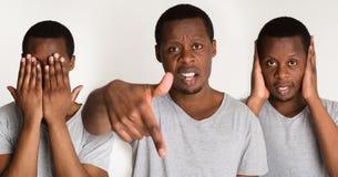 Grupo de retratos do ` s do homem negro com emoções diferentes Imagens de Stock