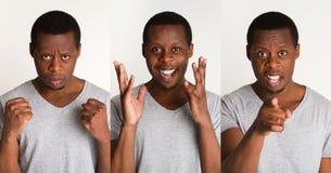 Grupo de retratos do ` s do homem negro com emoções diferentes Fotos de Stock Royalty Free