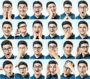 Grupo de retratos do ` s do homem novo com emoções diferentes Imagem de Stock Royalty Free