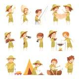 Grupo de Retro Cartoon Icons do escuteiro de menino ilustração stock
