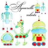 Grupo de robô da aquarela dos desenhos animados para crianças Objetos isolados coloridos no fundo branco fotos de stock royalty free