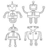 Grupo de robôs bonitos diferentes Ilustração do vetor Imagem de Stock