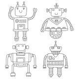 Grupo de robôs bonitos diferentes Ilustração do vetor Imagens de Stock