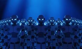 Grupo de robôs no fundo azul, inteligência artificial ilustração royalty free