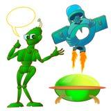 Grupo de robô e de nave espacial ilustração stock